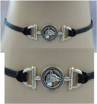 Horse Choker Necklace Handmade Adjustable accessories Fashion Silver NEW Black