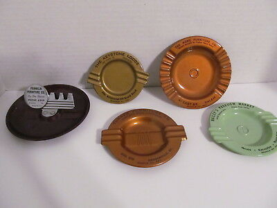 Vtg Salesman Sample Metal Art Deco Style Ashtrays - Set of 5