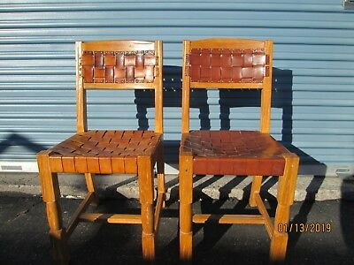 "Brandt ""Ranch Oak"" chairs with woven leather upholstery vintage 1960's set of 2"
