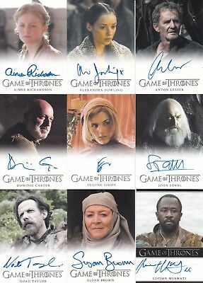 Game of thrones Season 4 autograph lot of 9 different