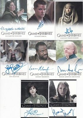 Game of thrones Season 5 autograph lot of 8 different including Gilly ( Murray )