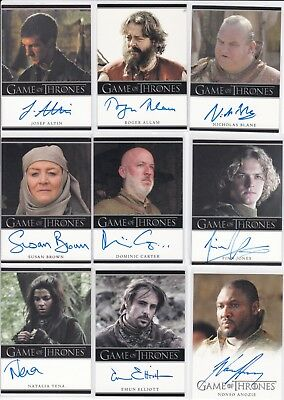 Game of thrones Season 2 autograph lot of 9 different