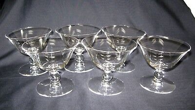 6 Imperial Glass Candlewick Low Sherbet Dishes Stem 3400 Mid Century