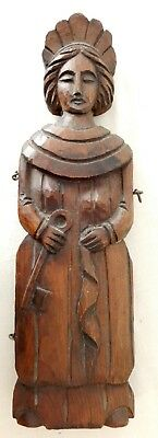 Antique Swedish Hand Carved 15 Inch Keeper of the Keys Box