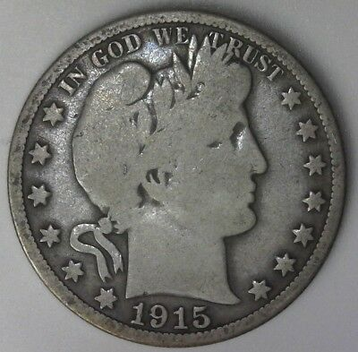 1915-D Barber Half Dollar 50C 90% Raw US Silver High Resolution Photos!