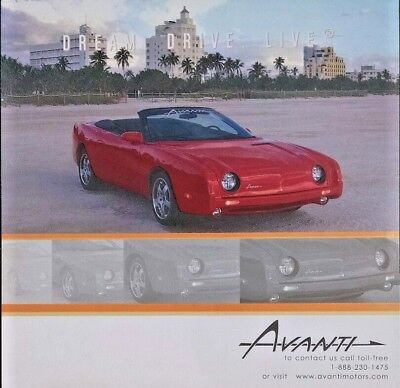 2004 Avanti Convertible Sales Brochure Features Spec Sheet Hero Card