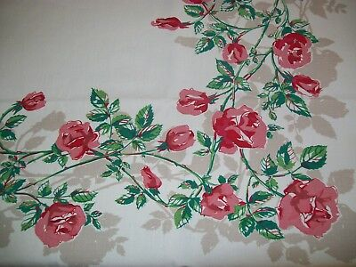 Vintage Tablecloth Red Pink Roses
