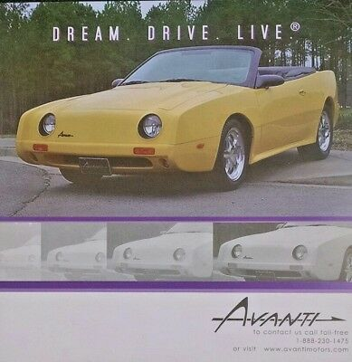 2005 Avanti Convertible Sales Brochure Features Spec Sheet Hero Card