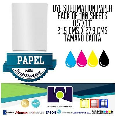 "100 Sheets 8.5""x11"" Dye Sublimation Ink Heat Transfer Paper for Inkjet Printers"