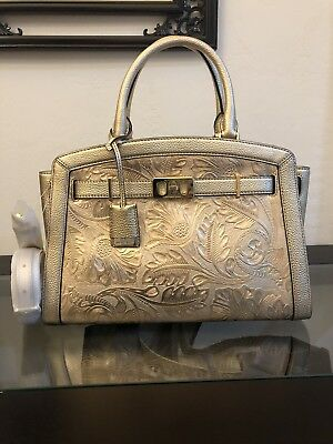 Michael Kors Karson LG Antique Gold Floral Tooled Leather Satchel Shoulder Bag