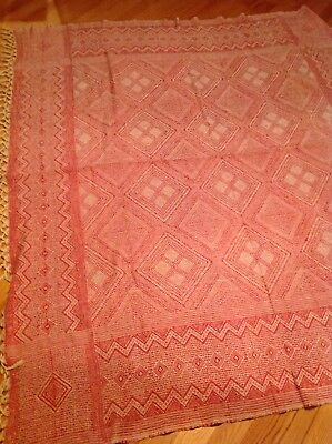 Antique Vintage Red White Woven Coverlet Bed Spread Fringe Throw Early Diamonds