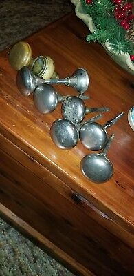 (9) Vintage Architectural Door Knobs Chrome and Brass Knobs and Posts