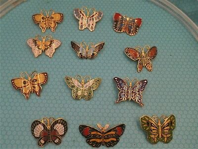 Mixed Lot New Old Stock Enamelled Butterfly Pins Beautiful 1 Dozen Assorted