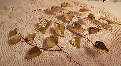 Vintage Home Interior leaf branches metal brass wall decor