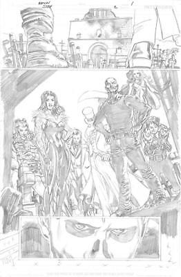 SCOT EATON:SUICIDESQUAD/BLACK FILES#2PG1 SPLASH ORIG PENCILS +Eaton inks