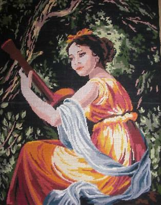 """Vintage completed cotton Needlepoint by Vigee Lebrun The musician 19.8""""x25.4"""""""