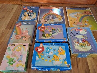 Lot Of 8 Vintage Care Bears Puzzles