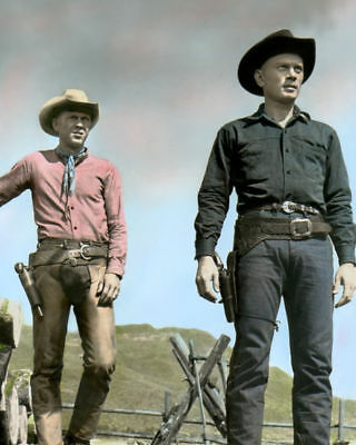 """YUL BRYNNER & STEVE McQUEEN MAGNIFICENT SEVEN 1960 8X10"""" HAND COLOR TINTED PHOTO"""