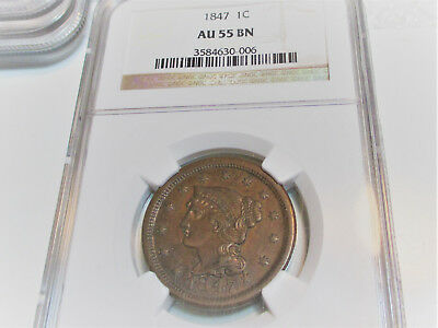 1847 BRAIDED HAIR LARGE CENT 1c NGC AU55 BROWN RARE US COIN.