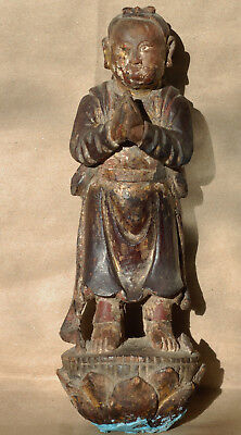 ANTIQUE CHINESE POLYCHROME WOOD STATUE Qing 19thc. TEMPLE FIGURE