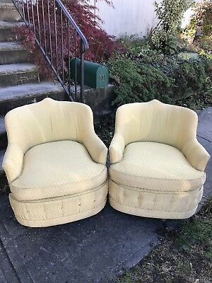 American of Martinsville Mid-Century Hollywood Regency Swivel Chairs - Pair Vtg
