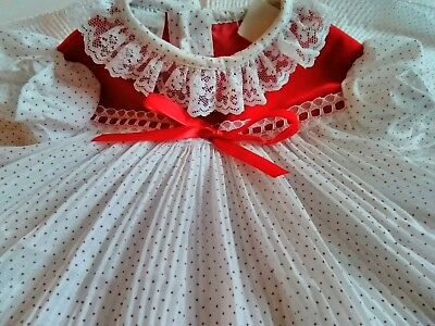 Vintage Baby Girl O-6mos White and Red Swiss Dots Lace Trim Pleats Dressy