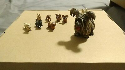 Mysterious Antique Hand Carved & Painted Miniature Dogs