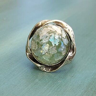 PZ Or Paz Israel Sterling Silver Large Ancient Roman Glass Ring 925 Size 7