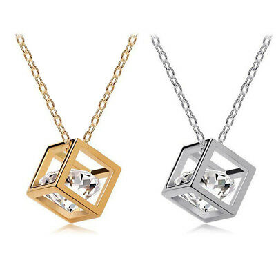 Fashion Women Jewelry Magic Cube Chain Crystal Square Pendant Necklace Gift New