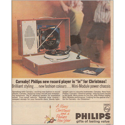 1966 Philips Record Player: Carnaby Vintage Print Ad