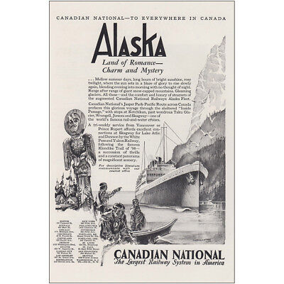 1930 Canadian National: Alaska Land of Romance and Mystery Vintage Print Ad