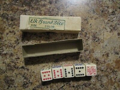 Vintage Elk Brand 5 Poker Dice in Box,  Casino, Gambling