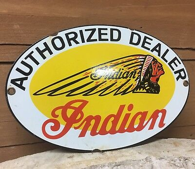 Vintage Indian Motorcycles Authorized  Dealer Porcelain Gas Oil Advertising Sign
