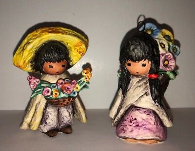 Flower Boy 1987 & Flower Girl 1986 Goebel DeGrazia Ornament Lot