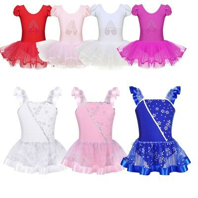 Kids Girls Sequin Ballet Tutu Dress Ruffled Sleeves Dance Gymnastics Leotard