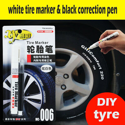 2pc White Paint Pen Marker Waterproof Permanent Car Tire Lettering Rubber Letter