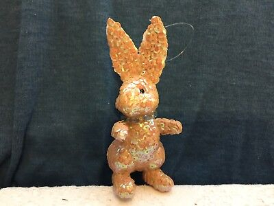 Vintage Beaded Sequin Easter Bunny Ornament