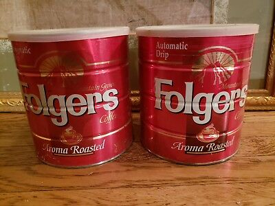 2 Folgers Aroma Roasted Coffee Cans Steel Coffee can 2lb 7oz. Vtg red tin w/ lid