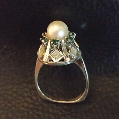VTG Art Deco Ring Sterling Silver Akoya Pearl Emerald Accents Sz 7.75 5.3g 925