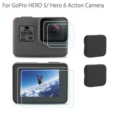 Ultra Clear Tempered Glass Screen Films W/ Lens Protector Cap for GoPro Hero 6 5