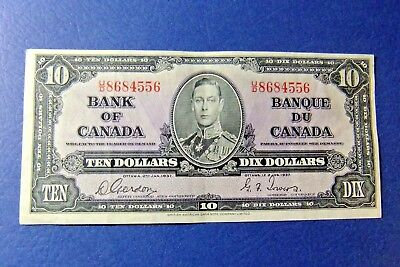 1937 Bank of Canada Ten Dollar - GORDON/TOWERS - U/D 8684556 - EF40