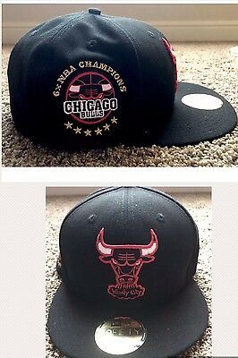 ea7bfe39e96 Chicago Bulls 6x Championship Patch New Era NBA Fitted Hat 7 7 8 Black NEW
