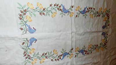 """CROSS STITCH TABLECLOTH Vintage Embroidery Birds Flowers on White Linen 62 x 48"""""""