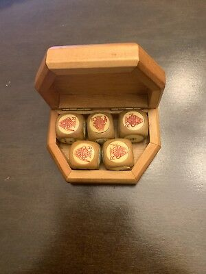 Vintage Wooden Poker Dice Set With Wooden Case (6 Dice)