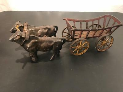 c.1890 Cast Iron Toy Double Oxen Pulled Stake Cart Hay Wagon