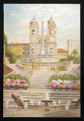 1800s D. PIGRA Italy Painting SPANISH STEPS ROME Grand Tour Watercolor Fountain