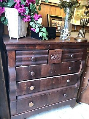 1800's Empire Chest Of Drawers Dresser