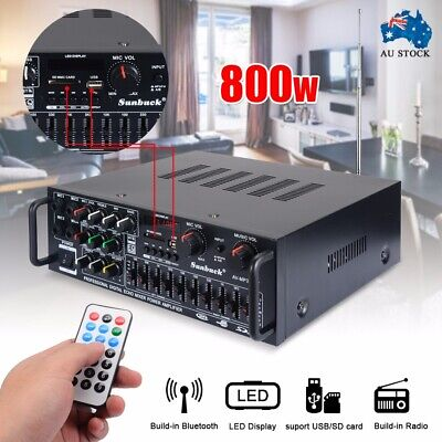 220V-240V 800W 2CH Bluetooth Stereo Power Audio Amplifier EQ USB Home KTV AMP SD