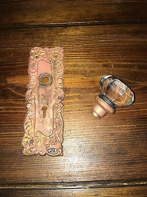 Antique Rosey Rose Brass Door Back Plate & Glass Door Knob