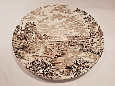 """Staffordshire England China Plate COUNTRY DAYS Hand Engraved by Ridgeway 9.75"""""""